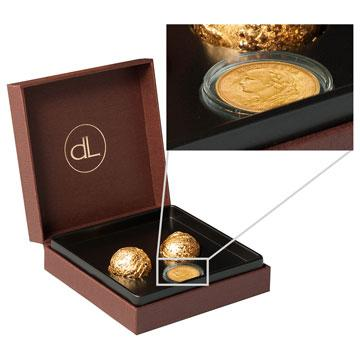 2 Chocolate Truffles With Pure Edible Gold (24k) and a Vreneli Gold Coin